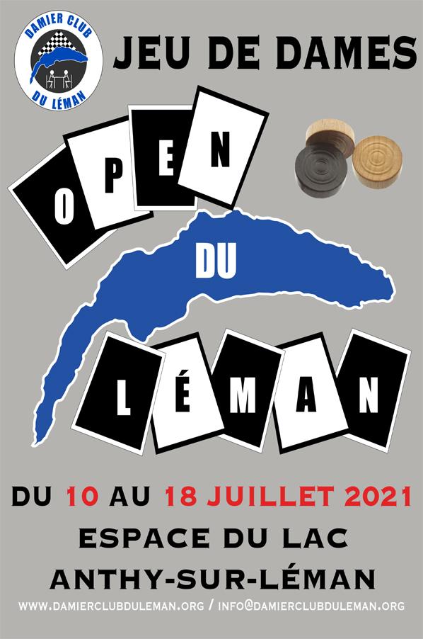 2ème Open national du Léman de Jeu de Dames du 10 au 18 Juillet 2021 à L'espace du Lac à Anthy-sur-Léman